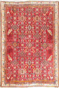 All-Over Geometric Kashkoli Persian Hand-Knotted 2x3 Red Wool Rug