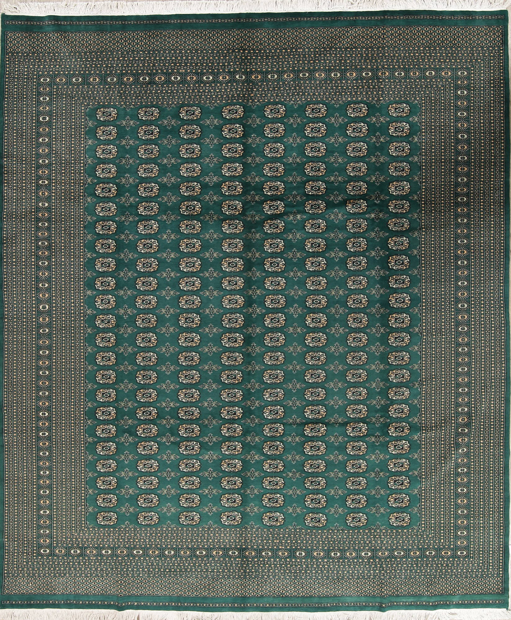 Geometric Bokhara Oriental Hand-Knotted 9x12 Green Area Rug Wool