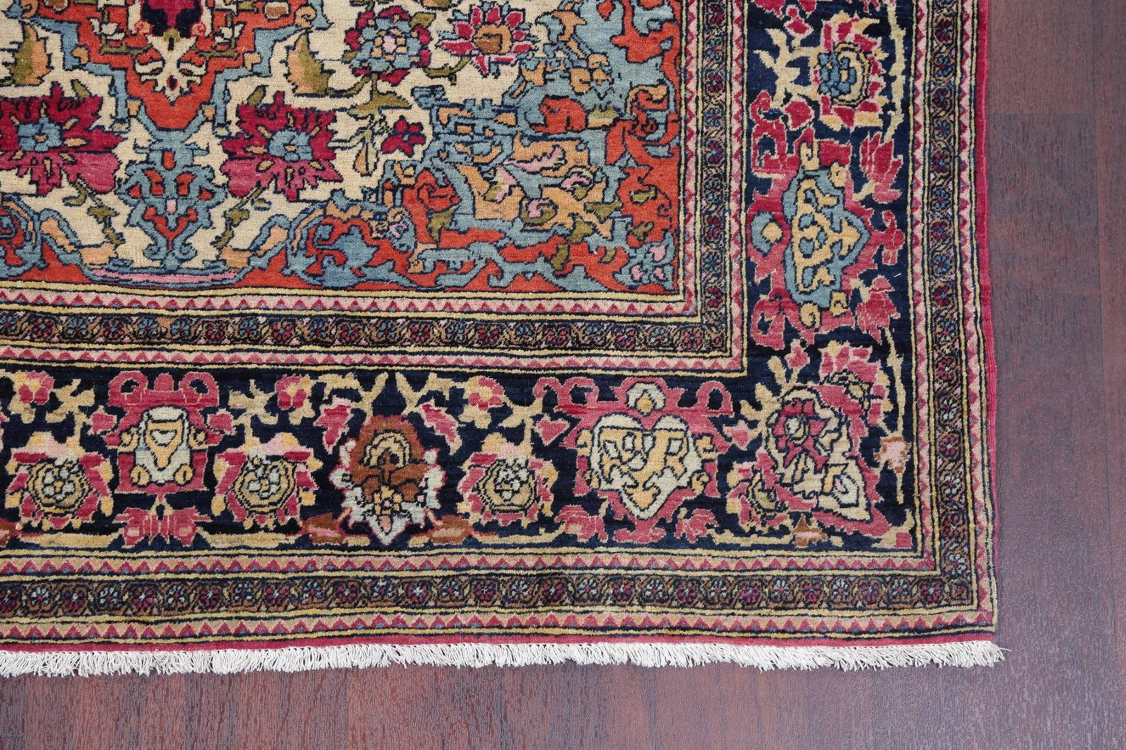 Pre-1900 Antique Vegetable Dye Sarouk Farahan Persian Area Rug 4x7