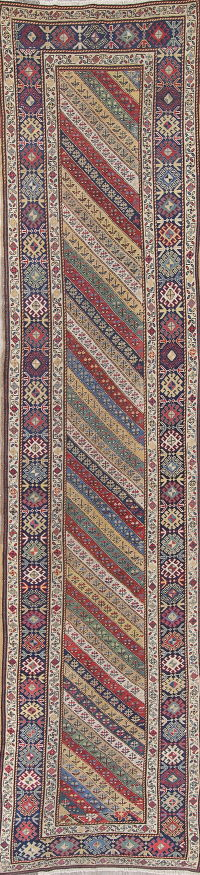 Pre-1900 Vegetable Dye Antique Kazak Caucasian Russian Runner Rug Wool 3x15