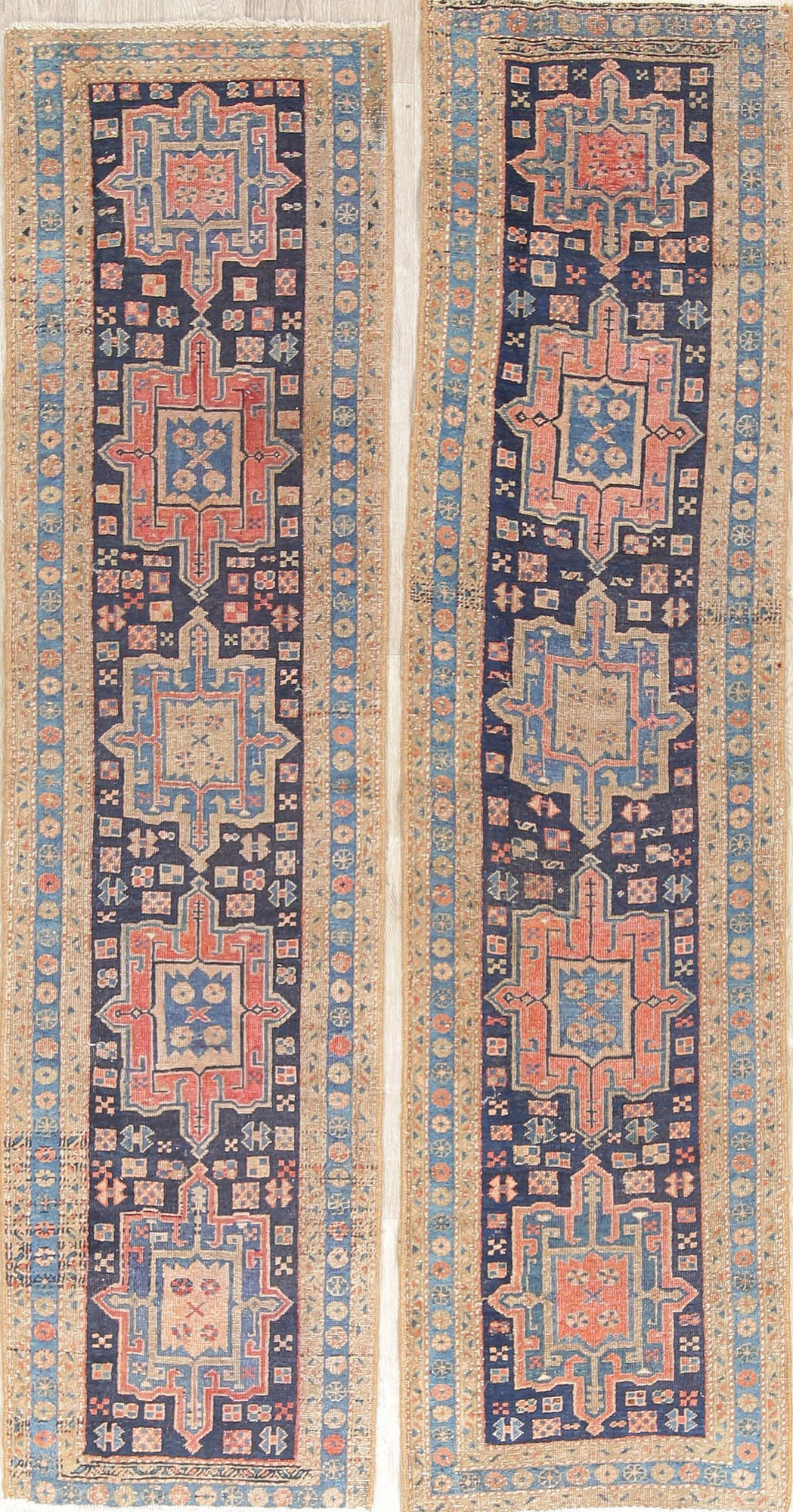 Pair Of Vegetable Dye Pre-1900 Antique Heriz Bakhshayesh Persian Runner Rug  2x9