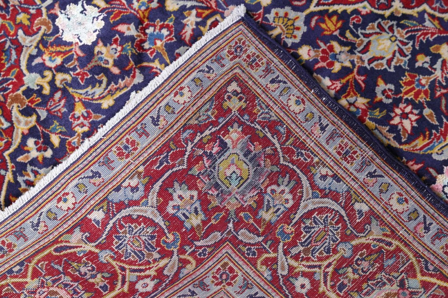 Vegetable Dye Floral Blue Kashan Persian Hand-Knotted Area Rug Wool 5x7 image 21