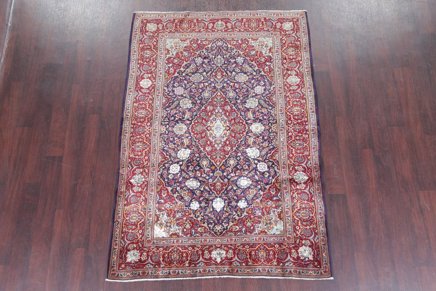 Vegetable Dye Floral Blue Kashan Persian Hand-Knotted Area Rug Wool 5x7 image 2