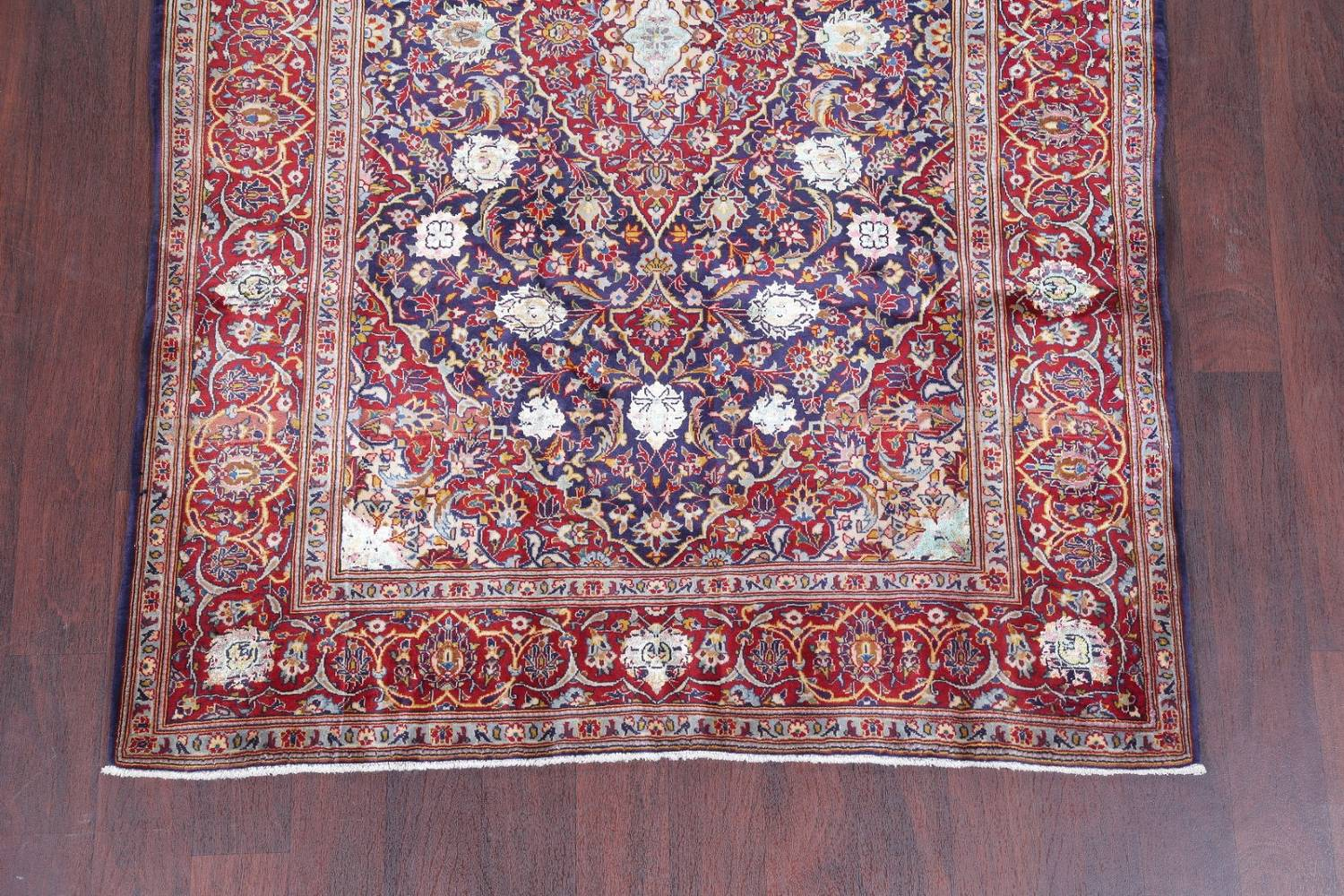 Vegetable Dye Floral Blue Kashan Persian Hand-Knotted Area Rug Wool 5x7 image 5