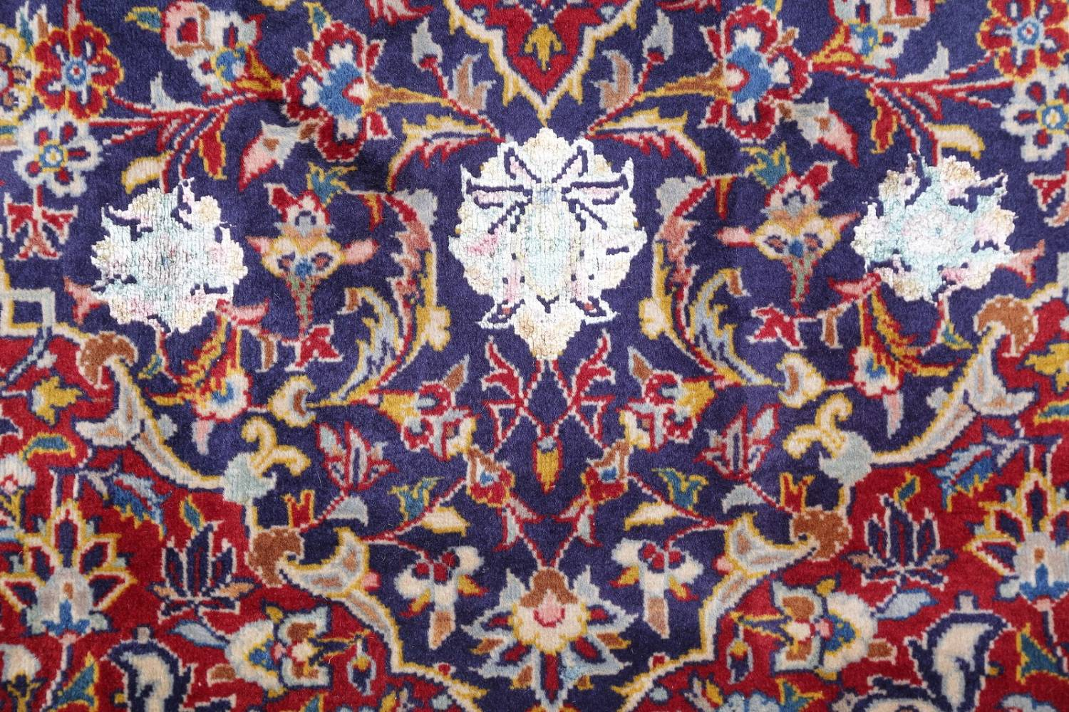 Vegetable Dye Floral Blue Kashan Persian Hand-Knotted Area Rug Wool 5x7 image 8