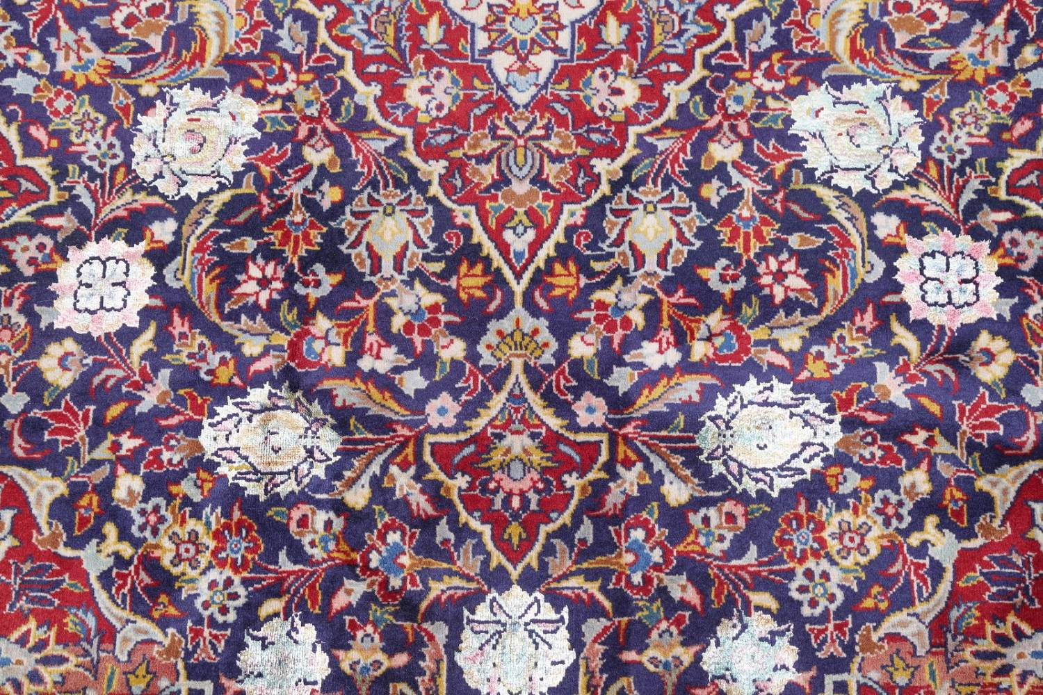 Vegetable Dye Floral Blue Kashan Persian Hand-Knotted Area Rug Wool 5x7 image 9