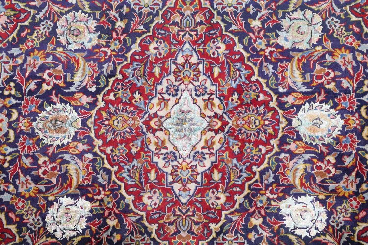 Vegetable Dye Floral Blue Kashan Persian Hand-Knotted Area Rug Wool 5x7 image 10