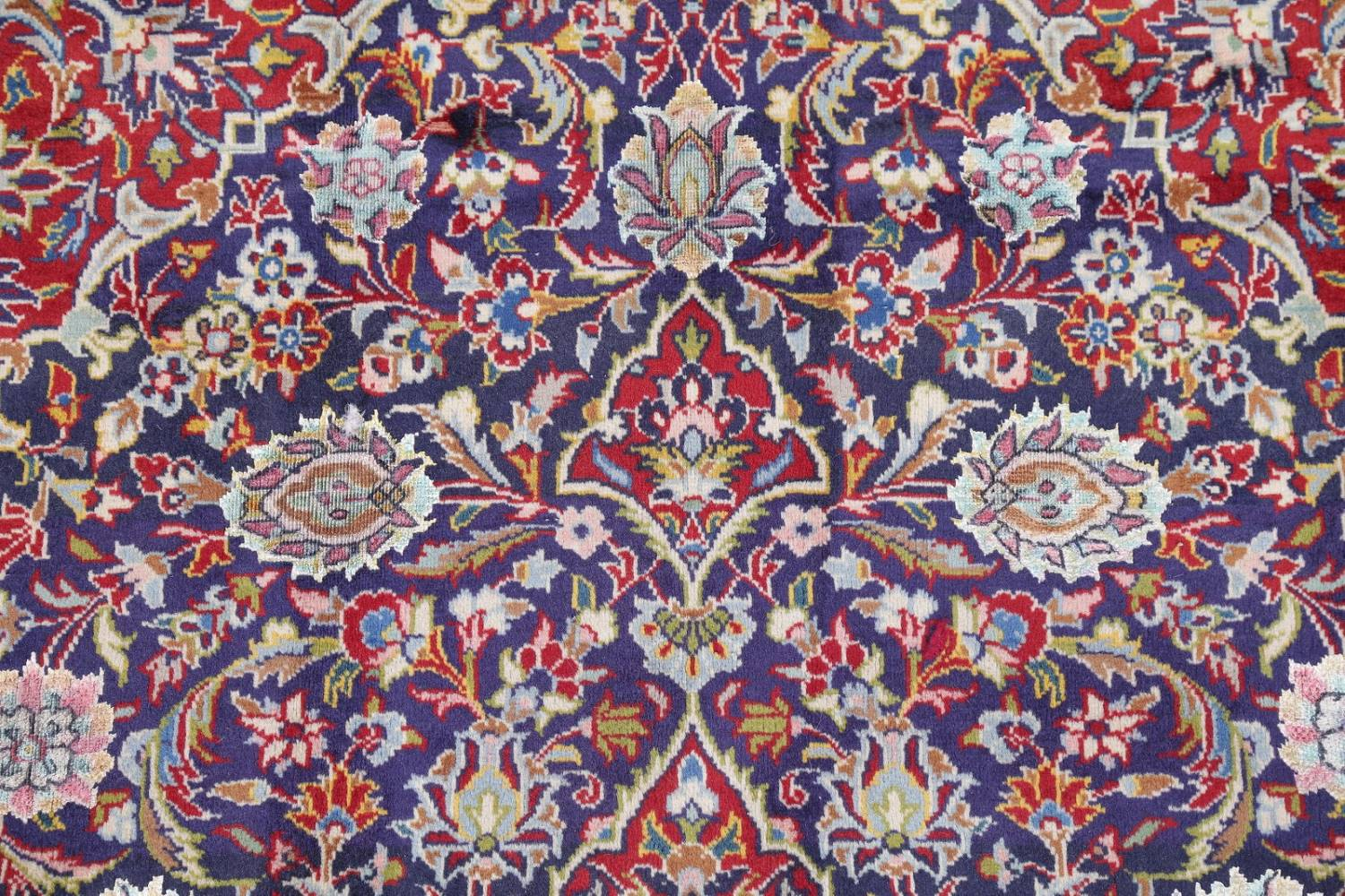 Vegetable Dye Floral Blue Kashan Persian Hand-Knotted Area Rug Wool 5x7 image 11