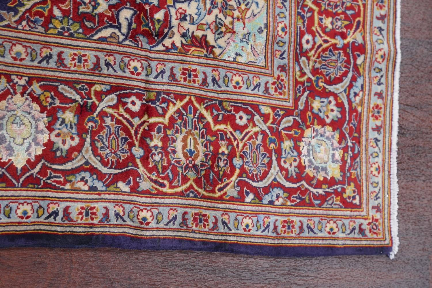 Vegetable Dye Floral Blue Kashan Persian Hand-Knotted Area Rug Wool 5x7 image 15