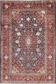 Vegetable Dye Floral Blue Kashan Persian Hand-Knotted Area Rug Wool 5x7 image 1