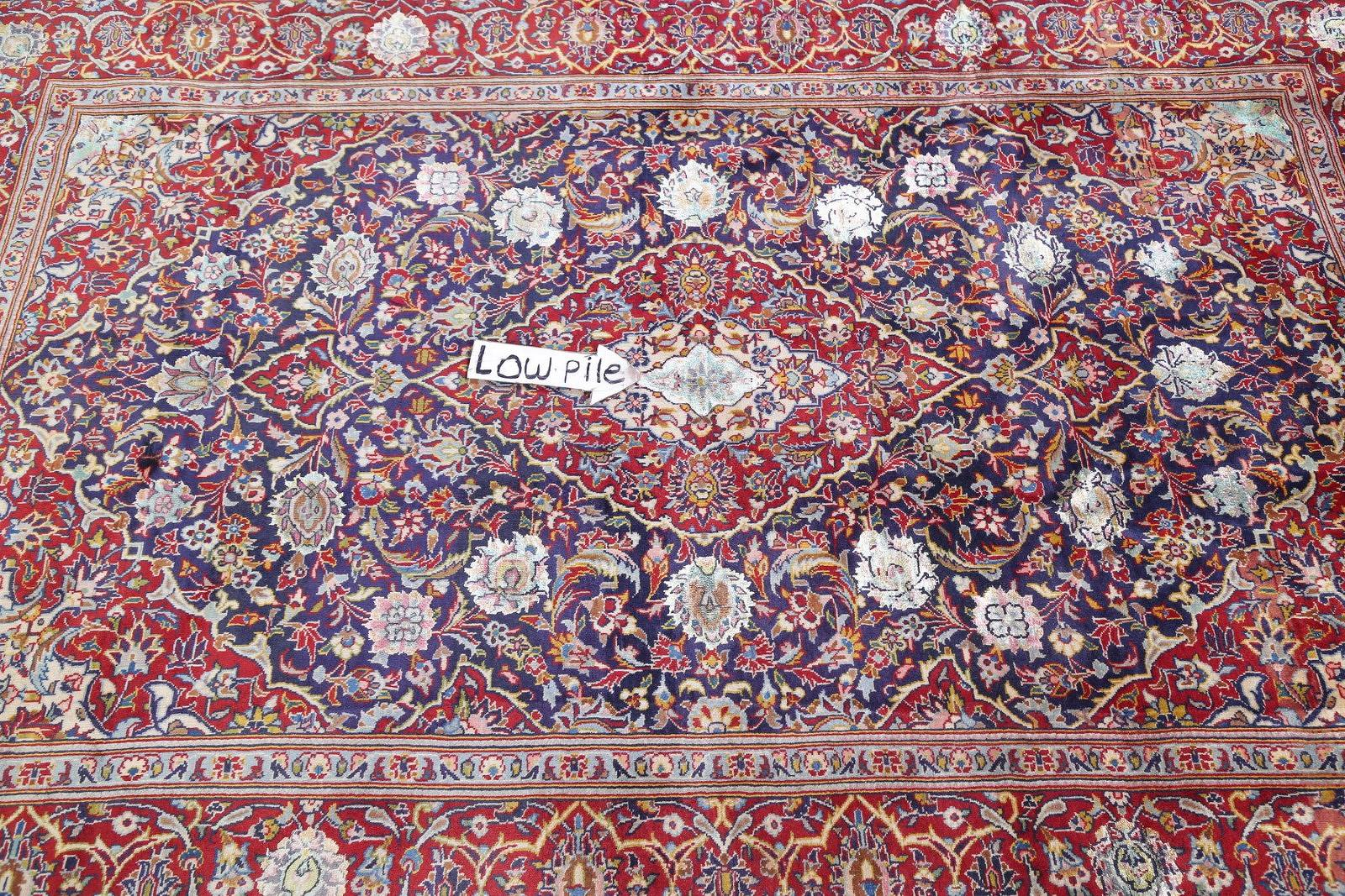 Vegetable Dye Floral Blue Kashan Persian Hand-Knotted Area Rug Wool 5x7