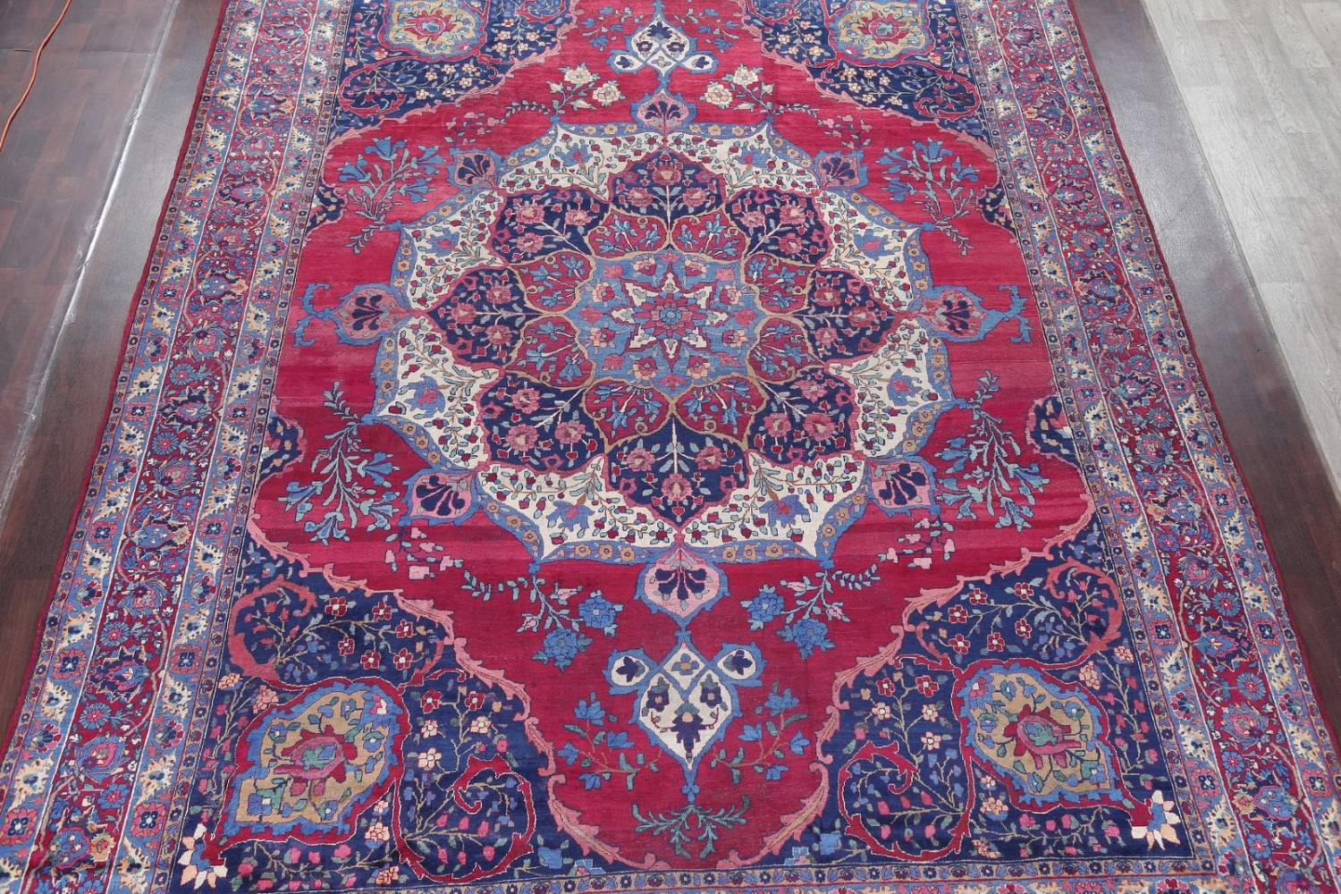 Pre-1900 Vegetable Dye Yazd Antique Persian Hand-Knotted  11x15 Wool Area Rug image 3