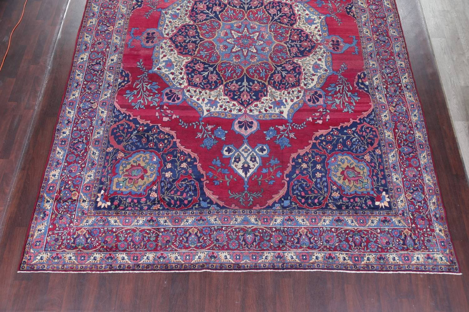 Pre-1900 Vegetable Dye Yazd Antique Persian Hand-Knotted  11x15 Wool Area Rug image 5