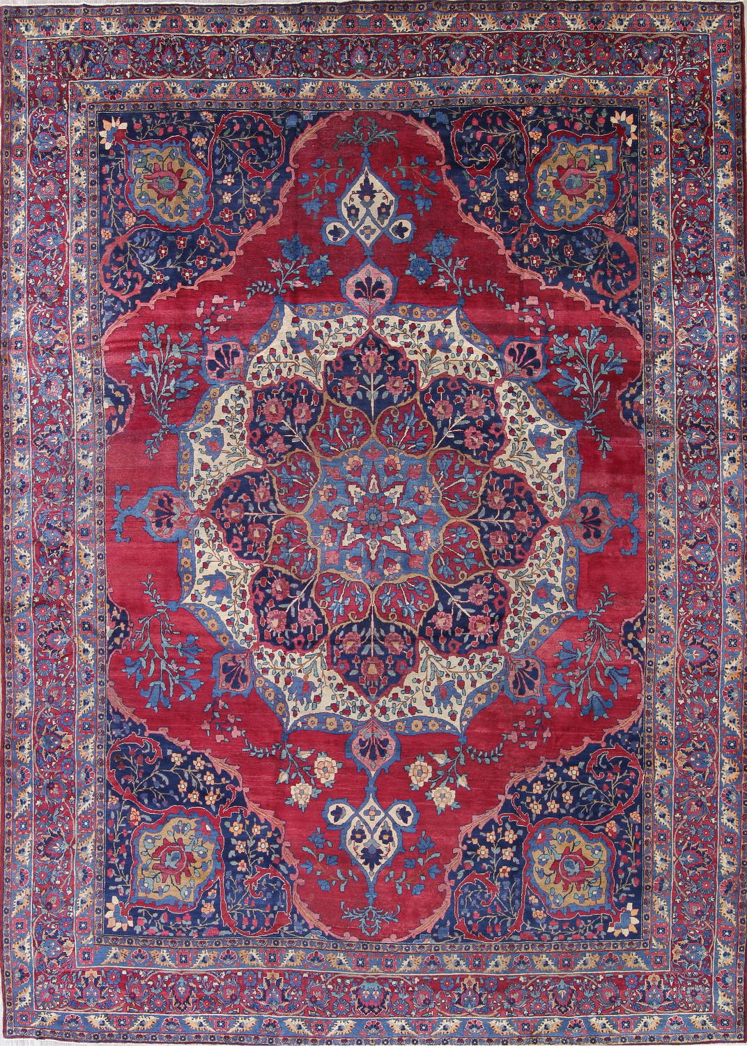 Pre-1900 Vegetable Dye Yazd Antique Persian Hand-Knotted  11x15 Wool Area Rug image 1