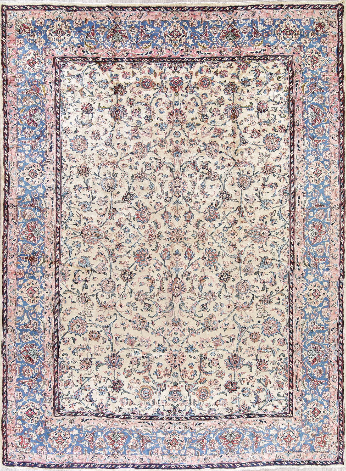 Vegetable Dye Floral Ivory Kerman Persian Hand-Knotted 10x13 Ivory Area Rug