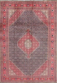 Geometric Navy Blue/Pink Ardebil Persian Hand-Knotted 6x9 Area Rug