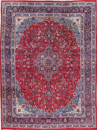 Floral Red Kashmar Persian Hand-Knotted Area Rug Wool 10x13