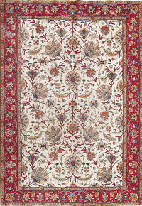 Antique Floral Ivory Tabriz Persian Hand-Knotted 7x11 Area Rug Wool