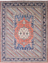 Vegetable Dye Geometric Coral Heriz Bakhshayesh Persian Hand-Knotted Area Rug 10x13