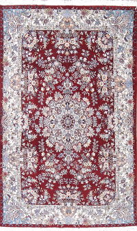Vegetable Dye Floral Kashan Persian Hand-Knotted 6x10 Area Rug