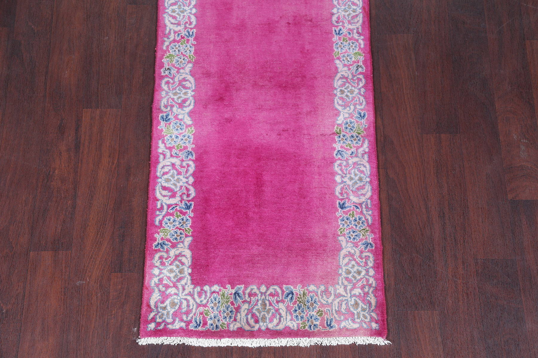Antique Fuchsia Pink Kerman Persian Hand-Knotted Runner Rug Wool 2x18