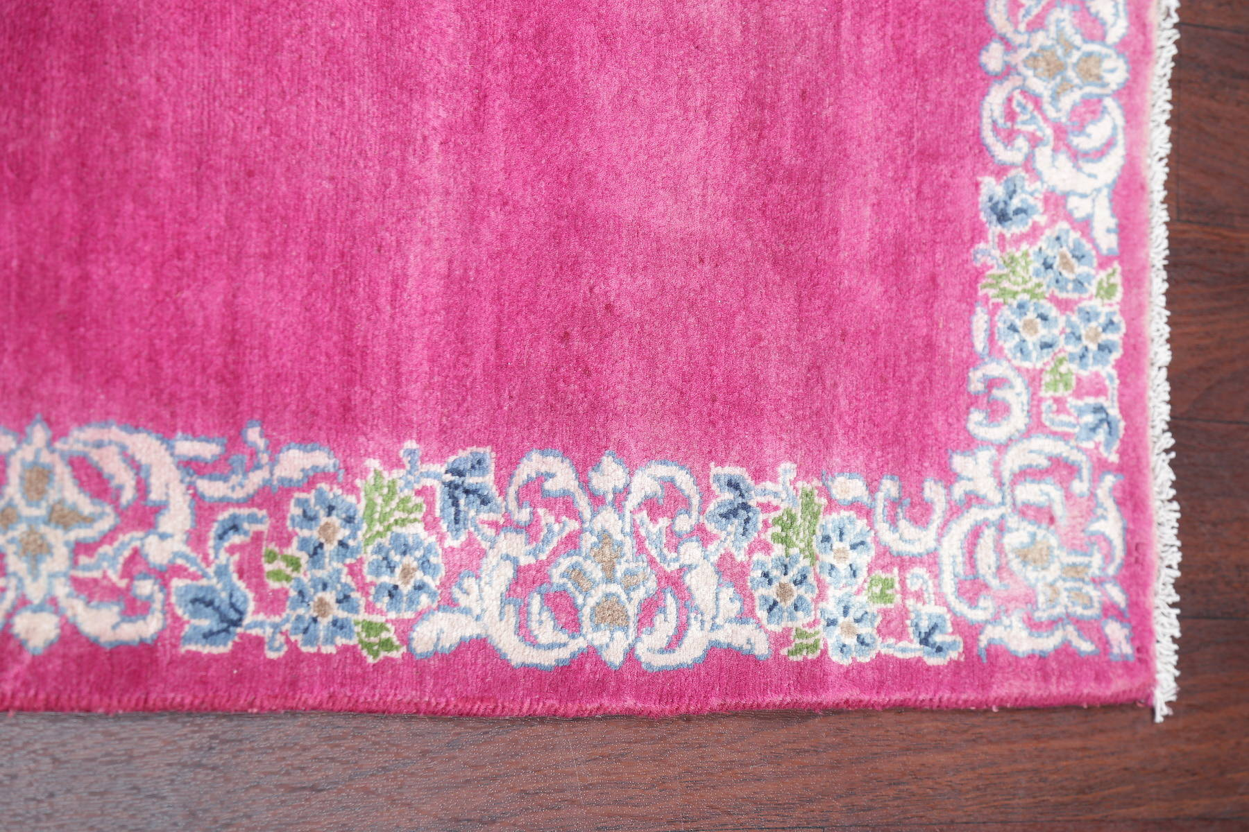 Antique  Fuchsia Pink Kerman Persian Hand-Knotted Runner Rug Wool 3x19