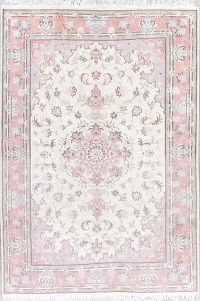 Floral Ivory Kashmar Persian Hand-Knotted Area Rug 7x10