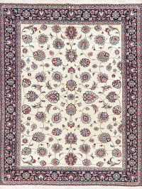 Floral Ivory Kashmar Persian Hand-Knotted Area Rug 8x11