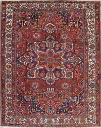 Antique Vegetable Dye Geometric Red Bakhtiari Persian Hand-Knotted Area Rug 11x14