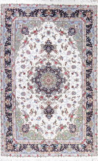 Floral Kashmar Persian Hand-Knotted Ivory Area Rug 6x10