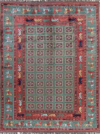 Pictorial Design Pine Green Kazak Oriental Hand-Knotted Area Rug Wool 9x12