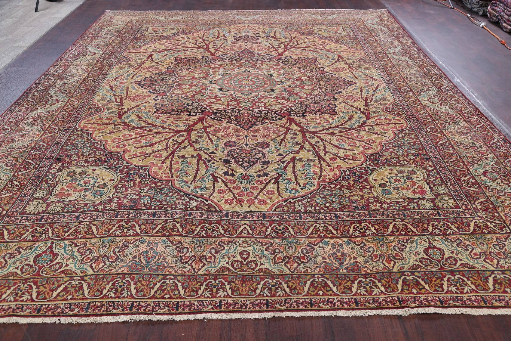 Pre-1900 Antique Floral Kerman Ravar Persian Hand-Knotted Area Rug 11x14