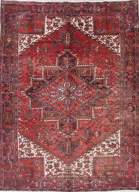 Geometric Heriz Persian Hand-Knotted Area Rug Wool 8x11