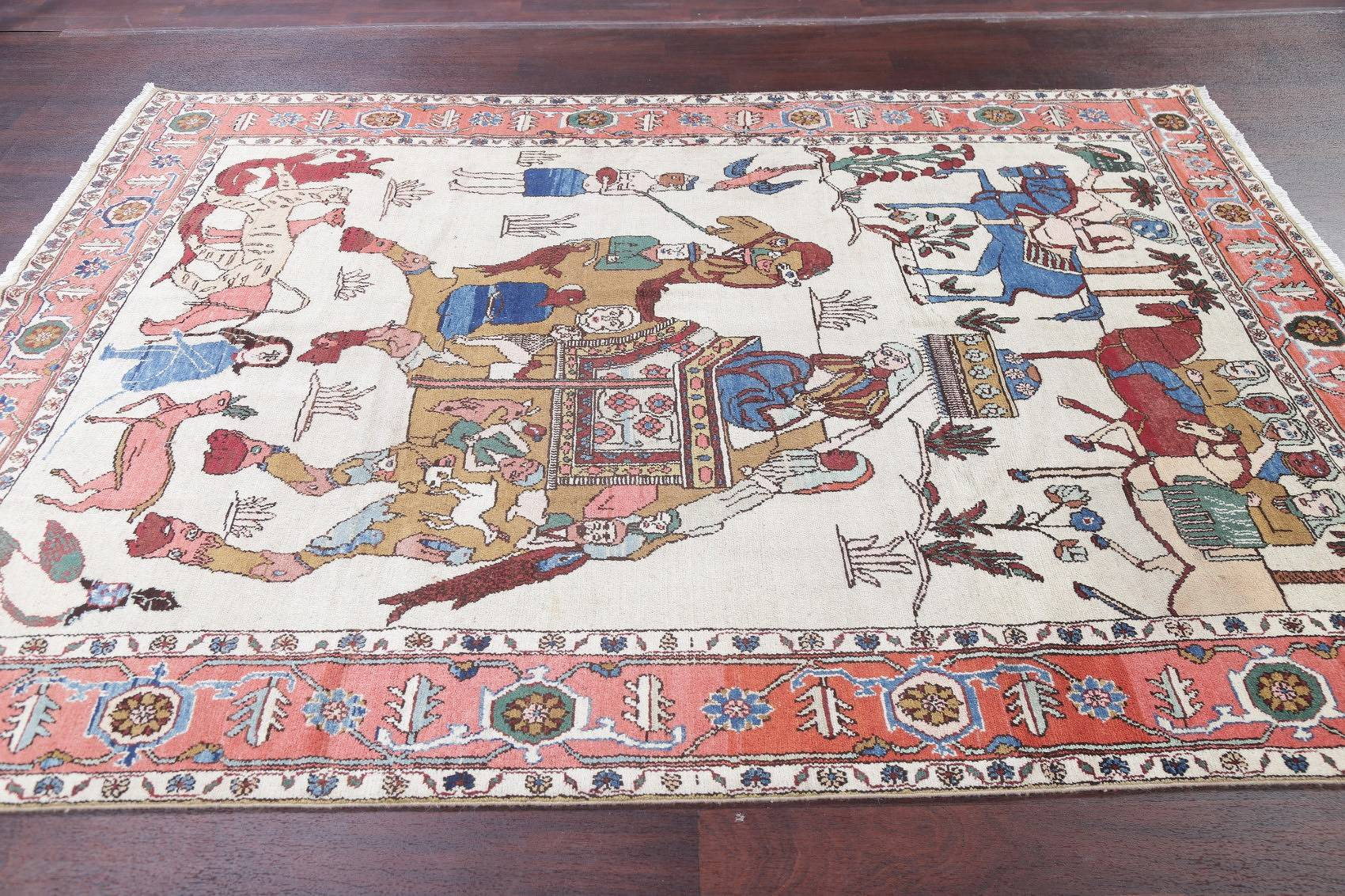 Antique Pictorial Design Ivory Gharajeh Persian Hand-Knotted Area Rug 7x9