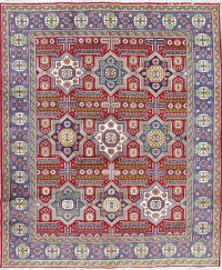 Geometric  Ardebil Persian Hand-Knotted 10x12 Red Area Rug Wool