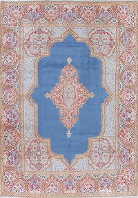 Geometric Kerman Persian Hand-Knotted 9x14 Blue Area Rug Wool