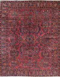 Vegetable Dye Antique Floral Sarouk Mohajeran Handmade 9x11 Pink Area Rug