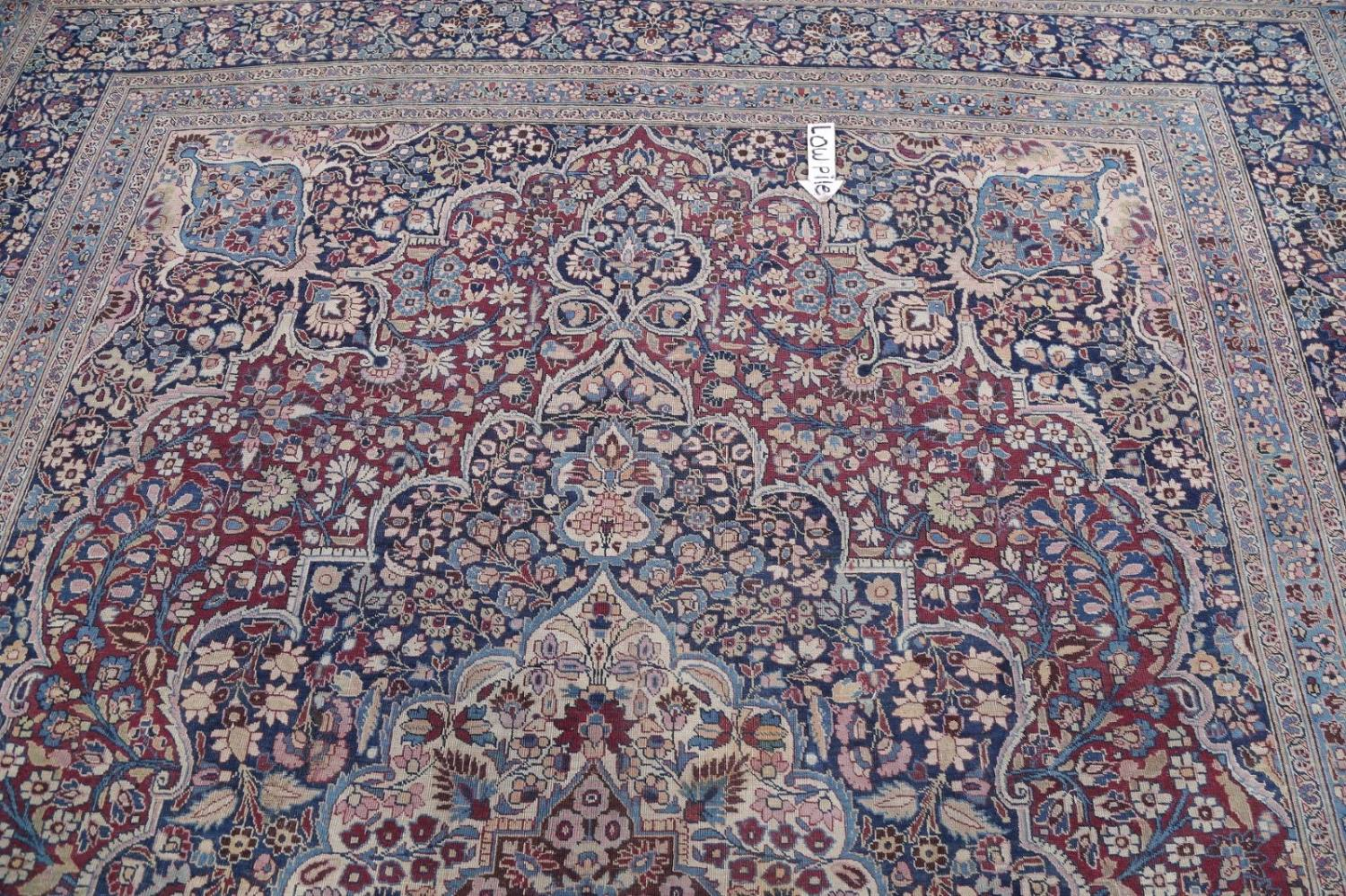 Pre-1900 Antique Floral Mashad Persian Hand-Knotted 10x13 Burgundy Area Rug image 14