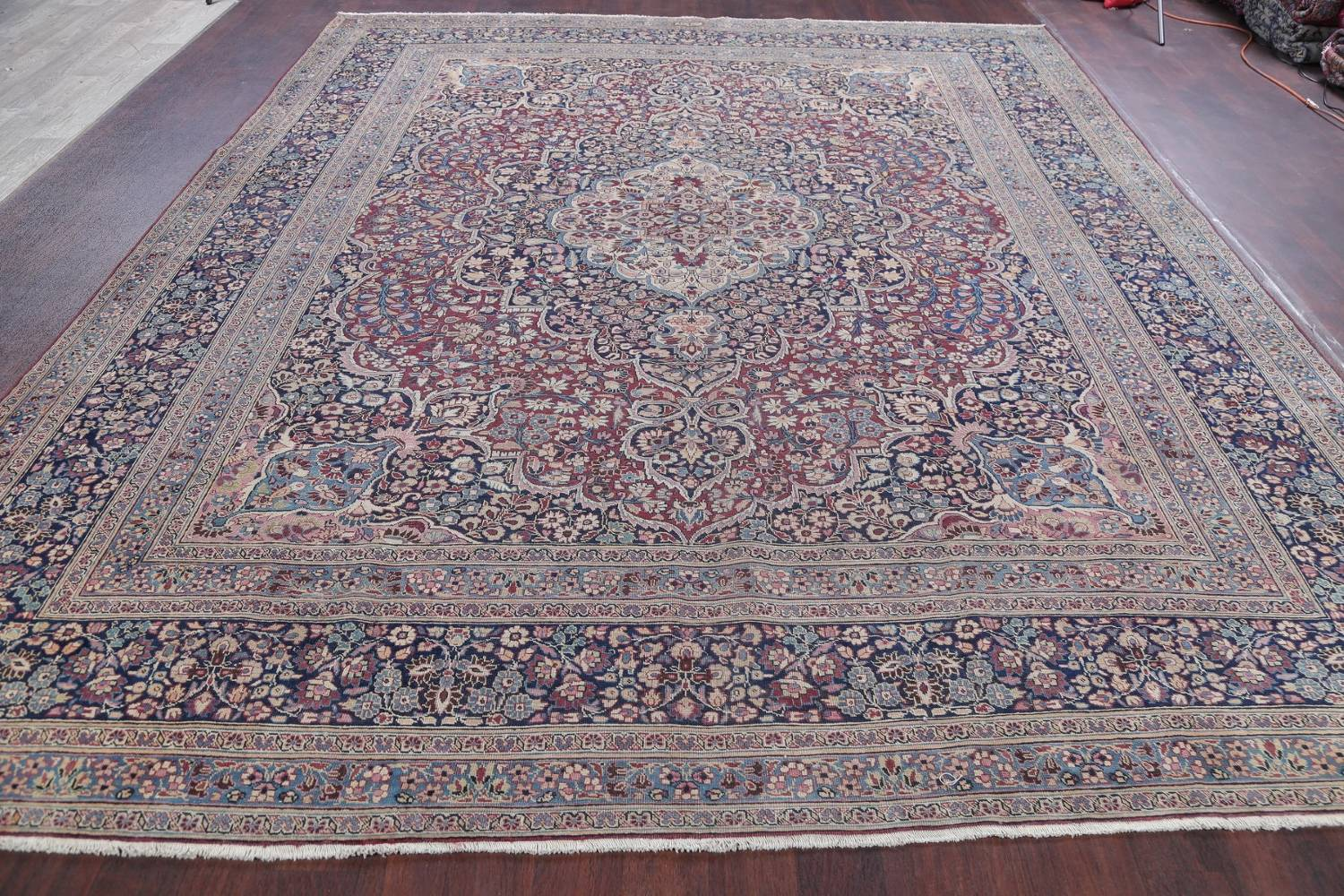 Pre-1900 Antique Floral Mashad Persian Hand-Knotted 10x13 Burgundy Area Rug image 19