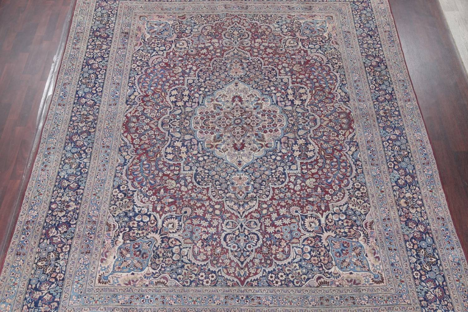 Pre-1900 Antique Floral Mashad Persian Hand-Knotted 10x13 Burgundy Area Rug image 3
