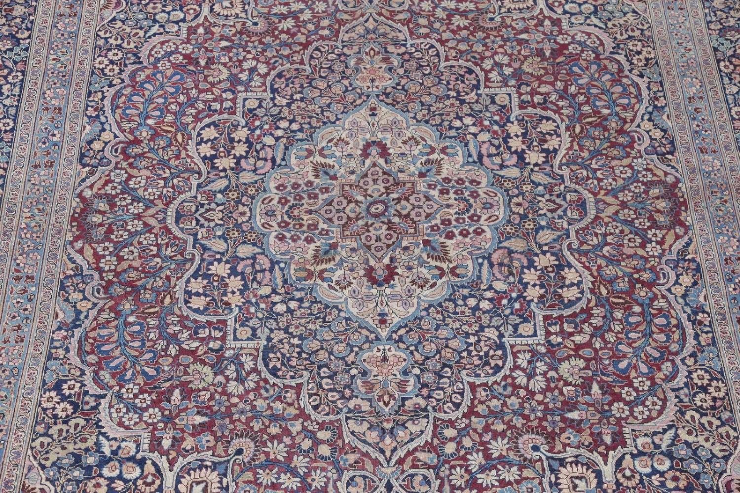 Pre-1900 Antique Floral Mashad Persian Hand-Knotted 10x13 Burgundy Area Rug image 4