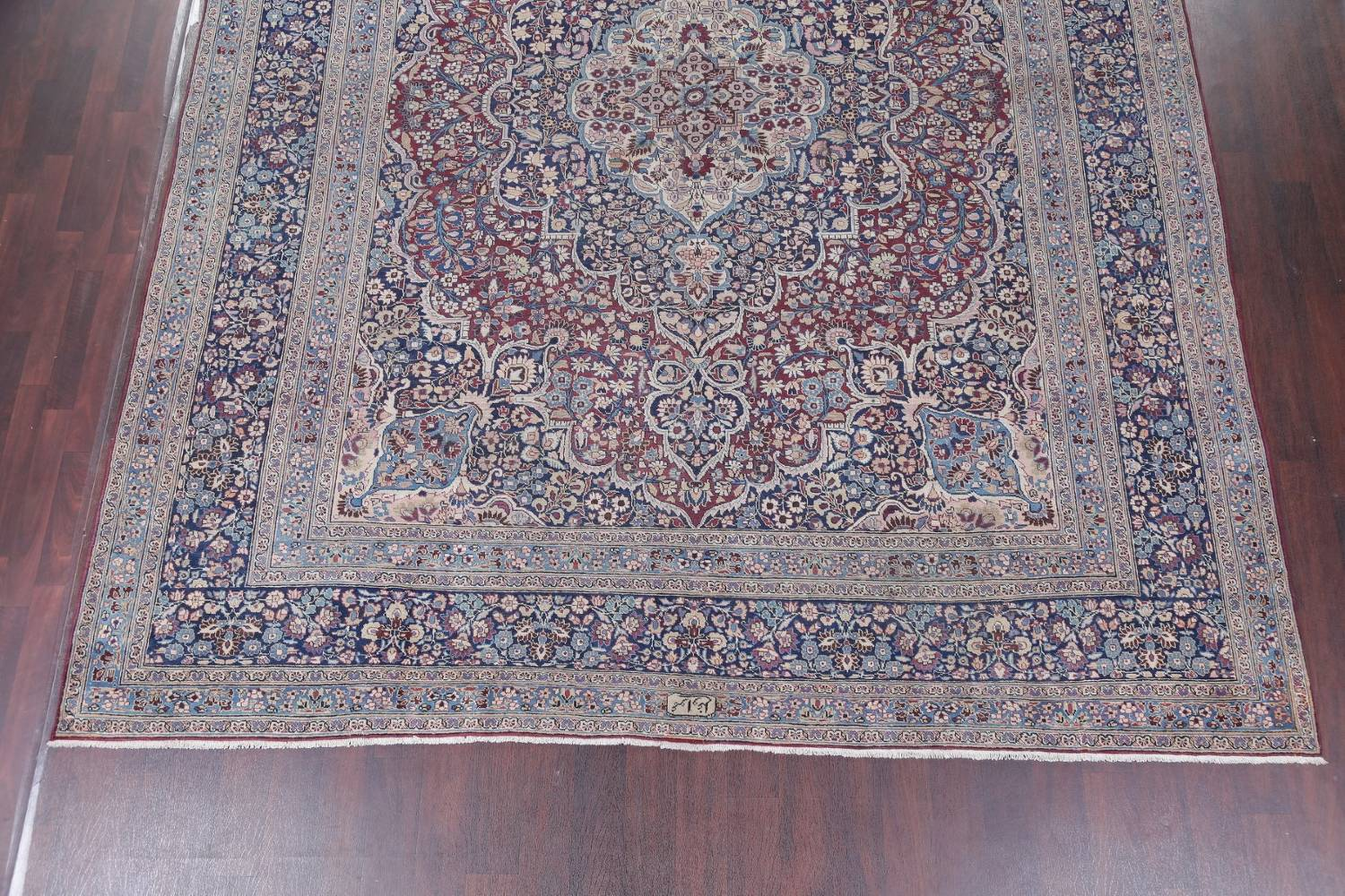 Pre-1900 Antique Floral Mashad Persian Hand-Knotted 10x13 Burgundy Area Rug image 5