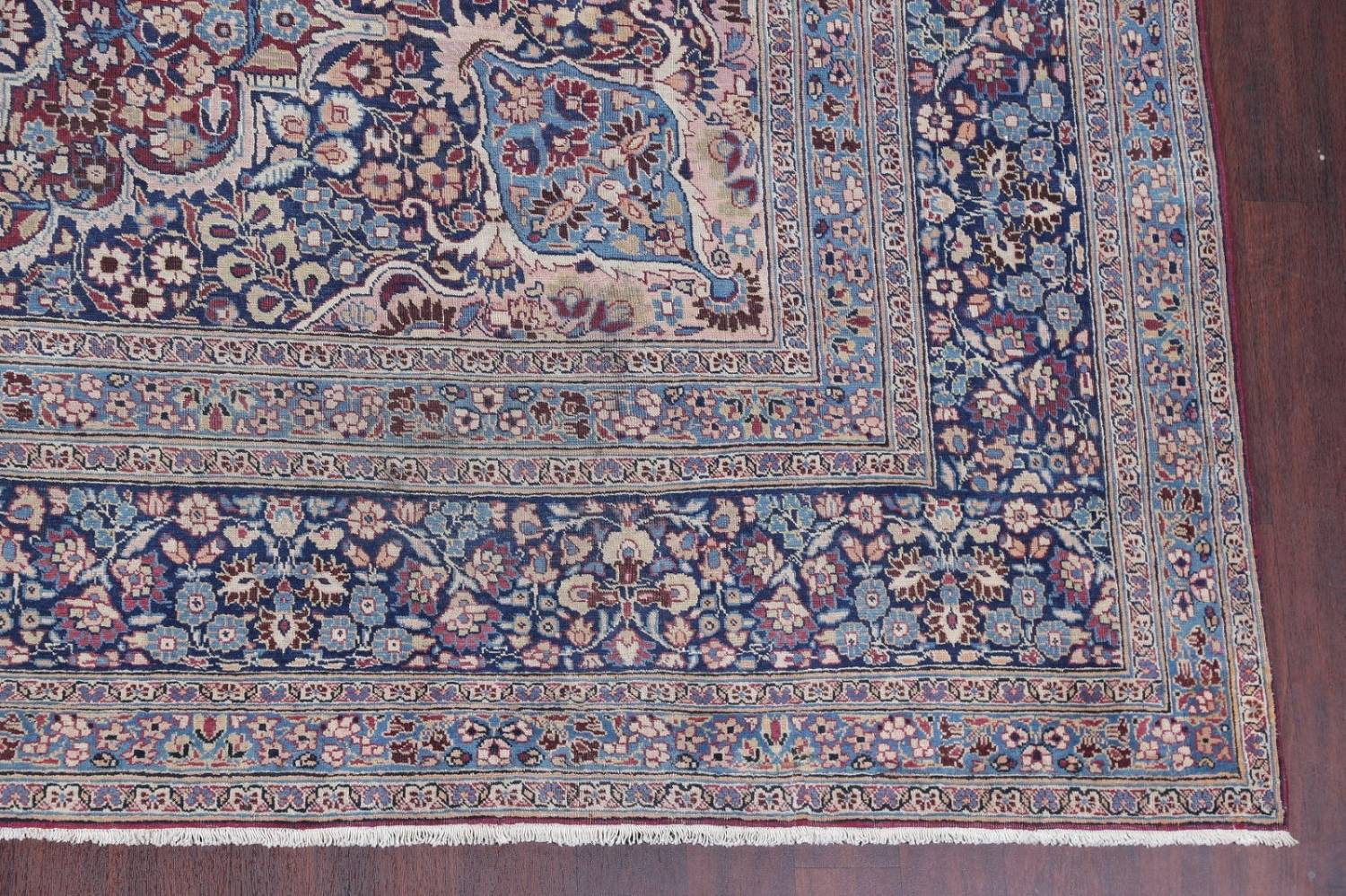 Pre-1900 Antique Floral Mashad Persian Hand-Knotted 10x13 Burgundy Area Rug image 6