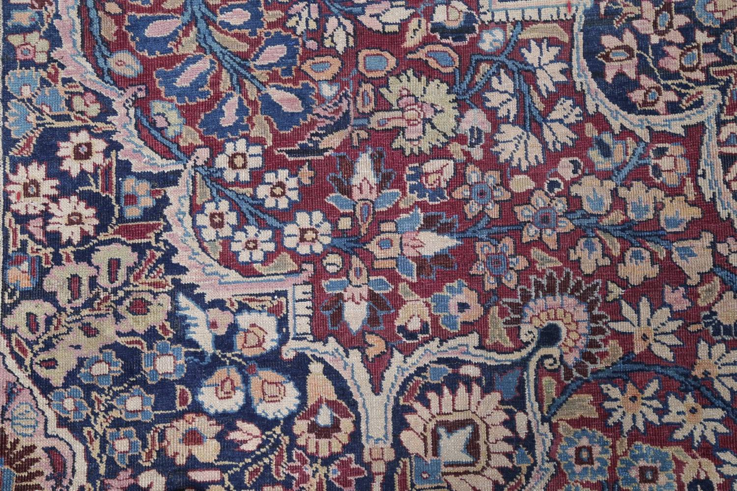 Pre-1900 Antique Floral Mashad Persian Hand-Knotted 10x13 Burgundy Area Rug image 8
