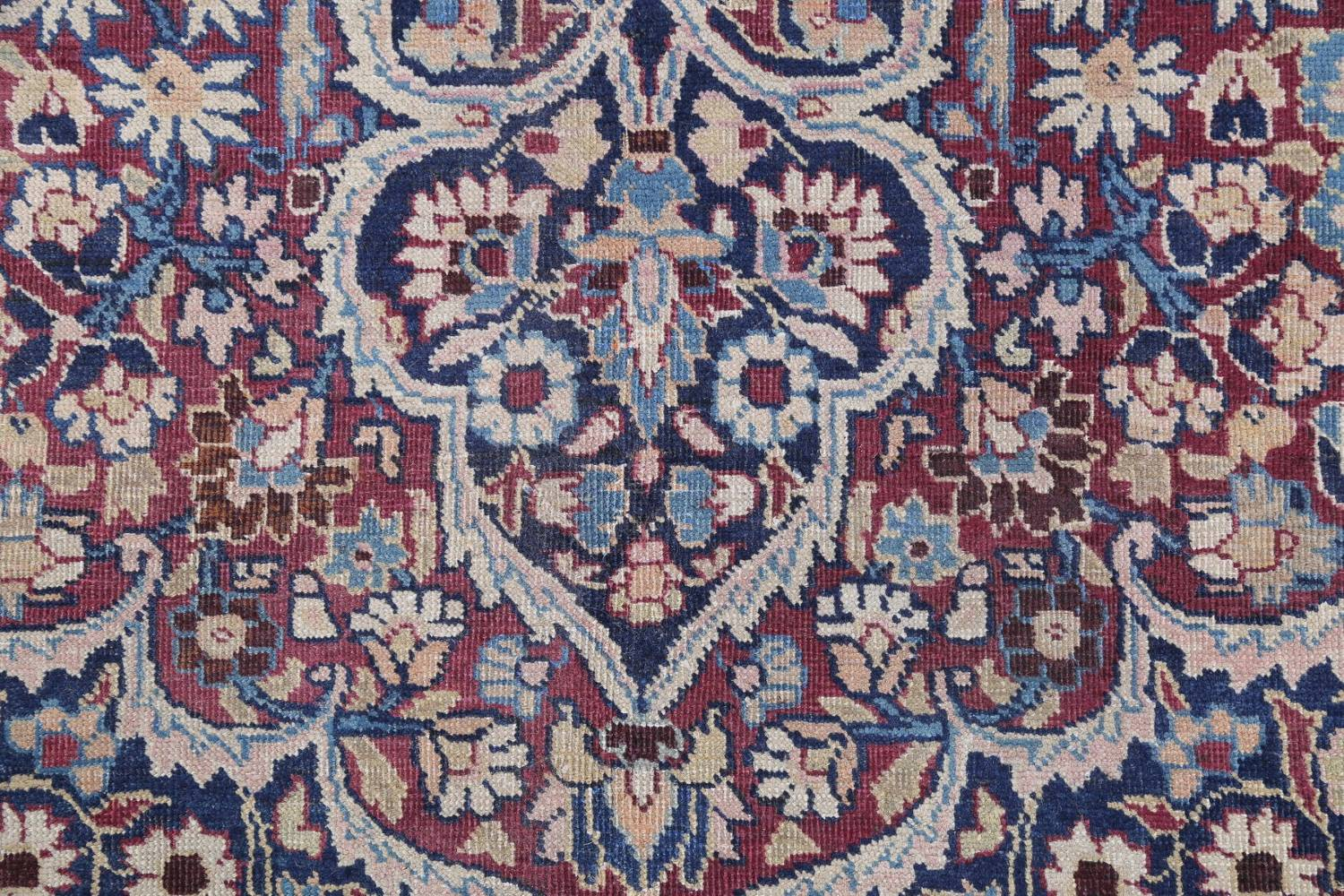 Pre-1900 Antique Floral Mashad Persian Hand-Knotted 10x13 Burgundy Area Rug image 9