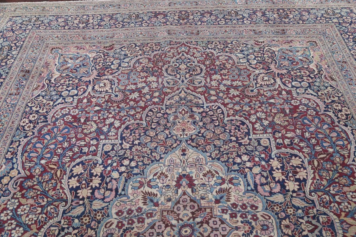Pre-1900 Antique Floral Mashad Persian Hand-Knotted 10x13 Burgundy Area Rug image 16