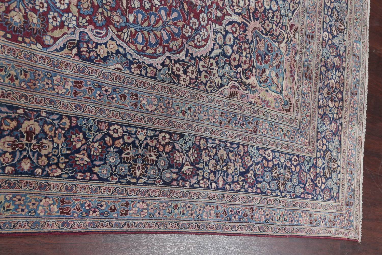 Pre-1900 Antique Floral Mashad Persian Hand-Knotted 10x13 Burgundy Area Rug image 17