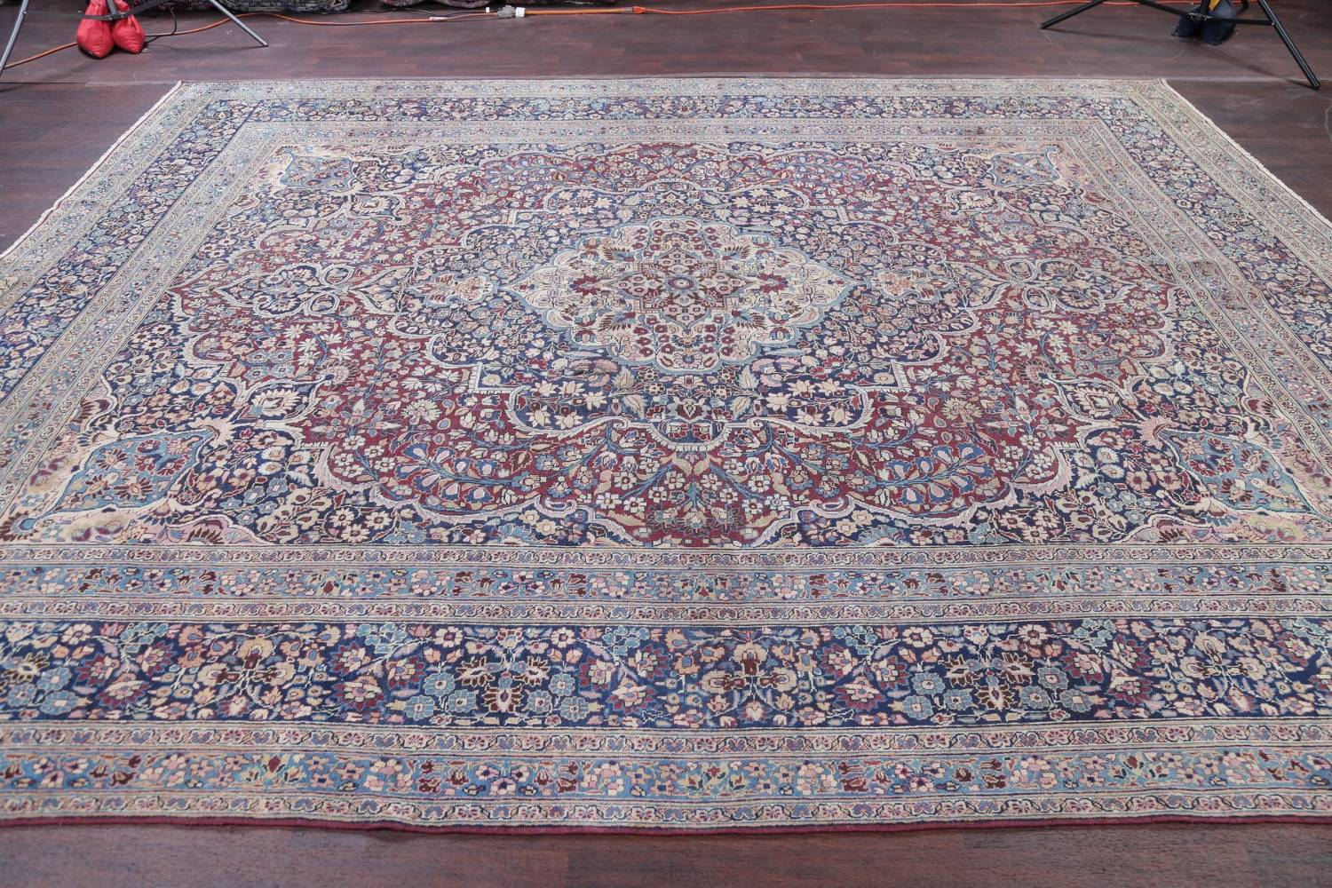 Pre-1900 Antique Floral Mashad Persian Hand-Knotted 10x13 Burgundy Area Rug image 18