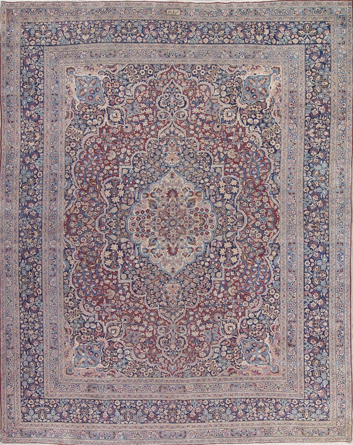 Pre-1900 Antique Floral Mashad Persian Hand-Knotted 10x13 Burgundy Area Rug image 1