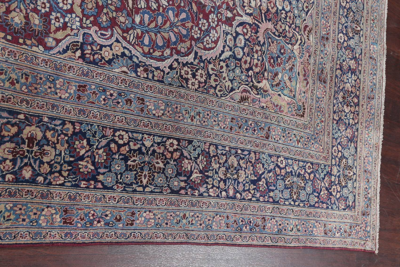 Pre-1900 Antique Floral Mashad Persian Hand-Knotted 10x13 Burgundy Area Rug